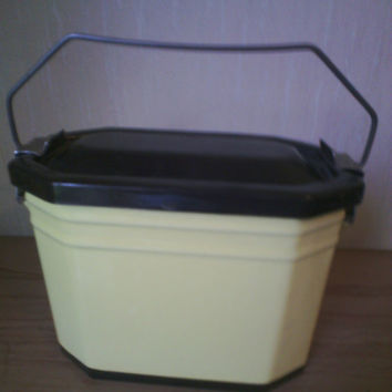 Vintage French Enamel Metal Lunch Box, Lunch Pail Enamelware