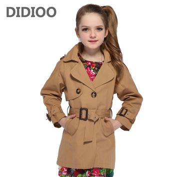 Girls Double Breasted Jackets Children Trench for Girls Coats Kids Solid Outerwear Fall Infant Windbreaker Overcoat