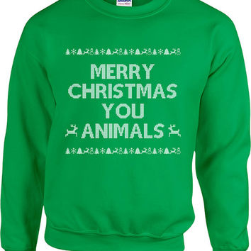 Funny Christmas Sweater Merry Christmas You Animals Sweater Christmas Presents Ugly Xmas Sweater Xmas Hoodie Unisex Hoodie - SA419
