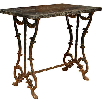 Marble-Top Bistro Side Table