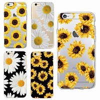 Cute Summer Daisy Sunflower Floral Flower Soft Clear Phone Case  Fundas Coque For iPhone 7 7Plus 6 6S 6Plus 8 8PLUS X SAMSUNG