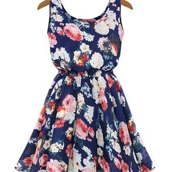 Scoop Neck Sleeveless Floral Print Wide Hem Chiffon Skater Dress