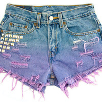 Studded Shorts Ombre Vintage Distressed High by floralfireworks