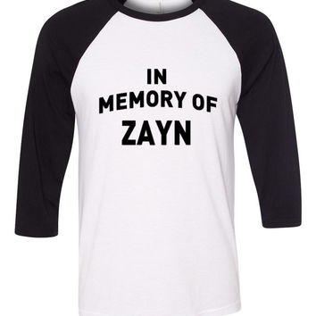 "One Direction ""In Memory of Zayn"" Baseball Tee"