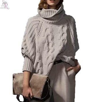 Gray Long Sleeve Turtleneck Pullover Women Fall Winter Warm New Design Loose Casual Cable Knitted Sweater