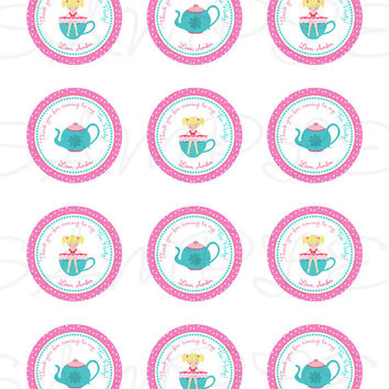 Tea Party label, sticker, Cupcake Topper, Tags, Digital file. Great for birthdays and baby showers