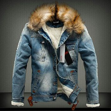 Mens jacket Sizes XS-XXL Fleece Lined Classic denim jean coat faux fur collar