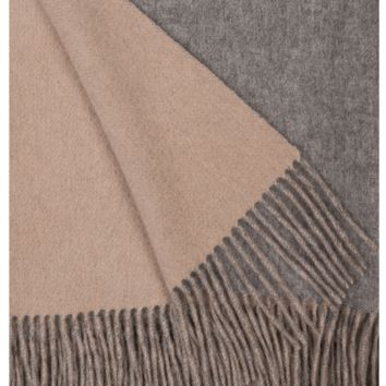 Ash and Bisque Wool / Cashmere Double-Faced Throw