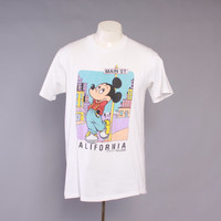 80s MICKEY MOUSE California T-SHIRT / 1980s Soft White Tee Tshirt L