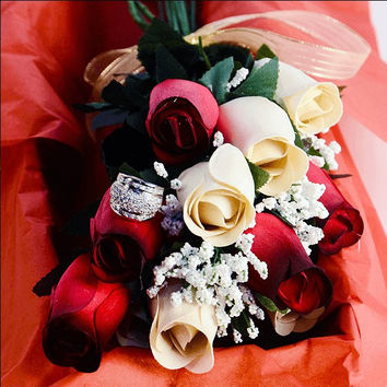 Red & Cream Wax Dipped Roses Bouquet