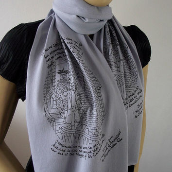 Edgar Allan Poe Scarf Quote Scarf Handprinted Scarf - Gray - with original illustration Raw Edge Scarf