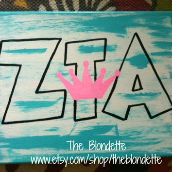 Zeta Tau Alpha. Crown. Sorority. 9 x 12 canvas. Zeta. ZTA