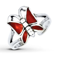 Butterfly Toe Ring Red Enamel Sterling Silver