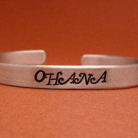 Lilo and Stitch Inspired - Ohana - A Hand Stamped Aluminum Bracelet