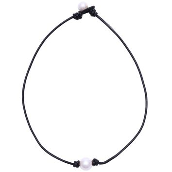 Single Cultured Freshwater Pearl Necklace for Women Genuine Leather Choker Jewelry Handmade