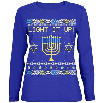 PEAPGQ9 Hanukkah Light It Up Ugly Christmas Sweater Womens Long Sleeve T Shirt