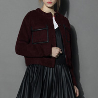 Pockets Burgundy Wool Blend Jacket Red