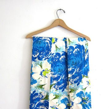 Vintage set of 4 Panels of Long mod mid century drapes Curtains // Blue and White floral fabric 1960s