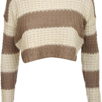 Laura Stripe Crop Jumper in Taupe Brown