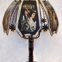 Star Wars Black Chrome Touch Lamp w/ Glass Shade