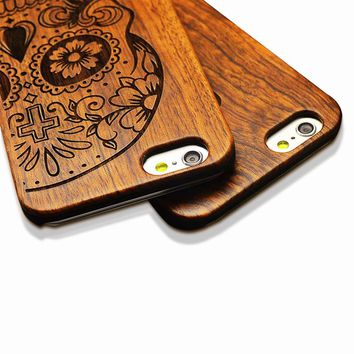 6 s Retro Nature Embossed Wood Phone Cases For iPhone 5 5s SE 6 6s Plus Funda Novel Carving Wooden Case PC Cover Hard Shell Capa