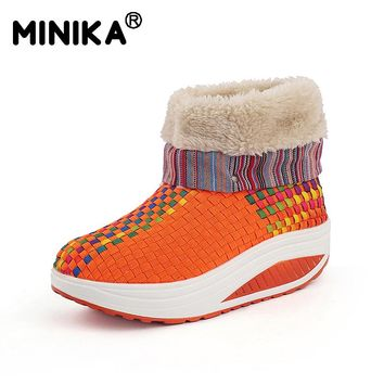 Minika Winter Women Snow Boots With Fur Warm Ankle Boots Outdoor Sneakers Slimming Walking Platform Velvet Wedges Swing Shoes