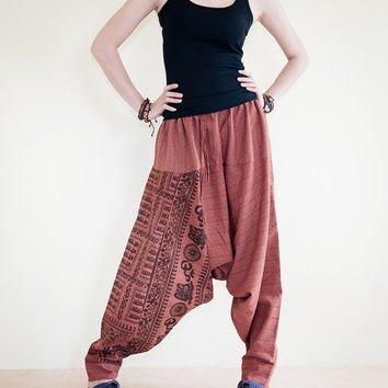 Om Ancient Hindu Script Pattern Harem Aladdin Unisex Textured Cotton Pants (Copper)