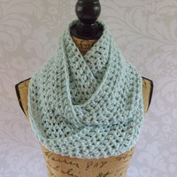 Ready To Ship Infinity Scarf Crochet Knit Long Large Glacier Ice Blue Women's Accessories Eternity Fall Winter