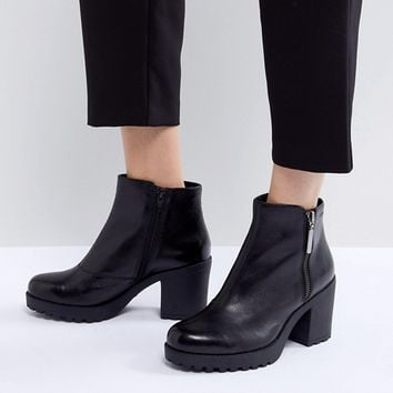 Vagabond Grace Polished Black Leather Ankle Boot with Side Zip at asos.com