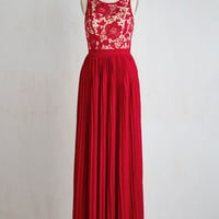 Long Sleeveless A-line Romantic Semantics Dress in Crimson