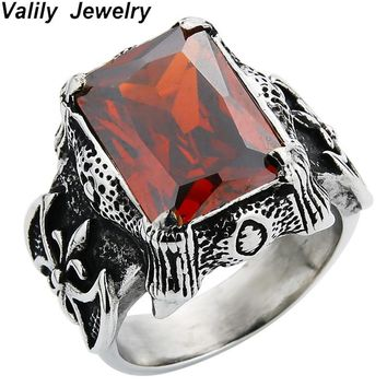 Valily Jewelry Silver Black Vintage Gothic Big Square Red/Black CZ Ring Stainless Steel Punk Dragon Claw Retro Band Ring for Men