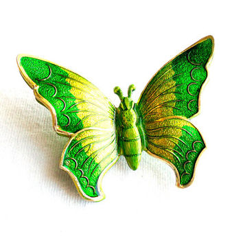 Vintage Green Butterfly Brooch Enamel Germany German Layered 3D Spring Summer Bug Insect