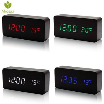 Electronic LED Digital Alarm Clock Temperature Sounds Control Wooden Table clock Calendar Display Desktop Clock Best selling