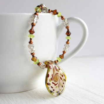 Taupe, Brown, and Lime Green Glass Beaded Lightweight Necklace - One of a Kind Fall Fashion Jewelry - Ready to Ship
