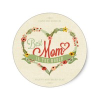 Happy Mother's Day Burlap Floral Wreath Heart Classic Round Sticker