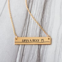 Funny Owl Gold / Silver Bar Necklace