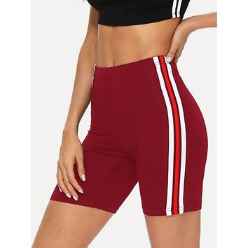 Striped Tape Side Legging Shorts Burgundy
