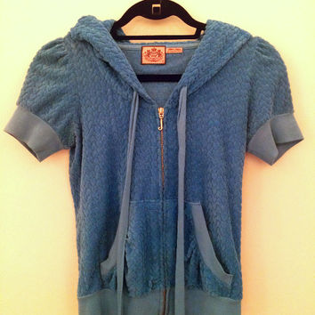 Juicy Couture Blue Heart Print Terry Cloth Hoodie