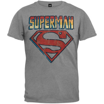Superman - Name And Logo Soft T-Shirt = 1946281348