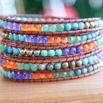 Bohemian beaded leather wrap bracelet, gemstones, turquoise, orange, pyrite, blue agate, purple jade, trendy artisan jewelry, vintage btuuon