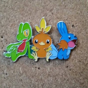 Treecko, Mudkip and Torchic Pokemon hat pin not bassnectar, sts9, pretty lights, big gigantic, griz, gramatik, edm, festival, sticker patch