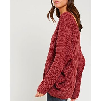 eight letters v neck oversized knit sweater in copper