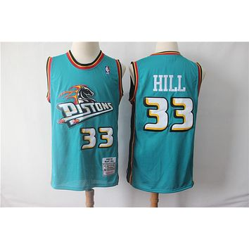 Detroit Pistons 33 Grant Hill Retro Basketball Jersey