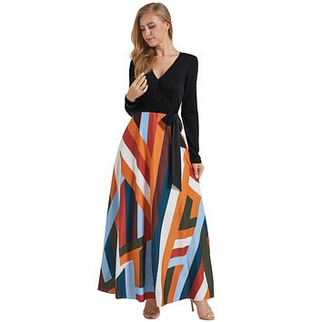 Black Long Sleeve Striped Skirt Maxi Dress