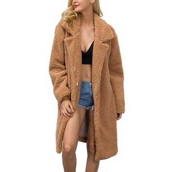 Himanjie Autumn Winter Faux Fur Coat 2017 Hand Made faux lamb fur Jacket Coat Women Warm Faux Fur Woolen Coat Cardigan Overcoat