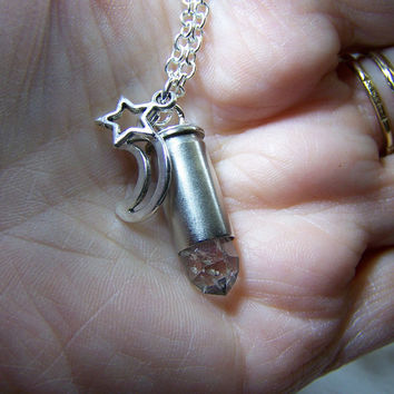 Quartz Crystal Moon and Star Silver Bullet Jewelry Pendant