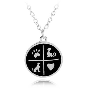 paw prints heart dog cat pet paw prints necklaces jewelry puppy memorial charm necklace woman black enamel animal love gift girl