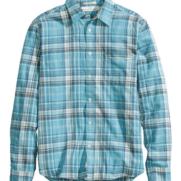 H&M - Herringbone Shirt - Turquoise - Men