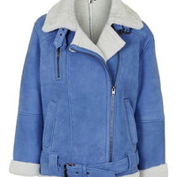 **Real Shearling Biker Jacket - Blue