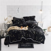 Luxury Soft velvet bedding set black stars duvet cover sets warm winter bed linen bedclothes double bed